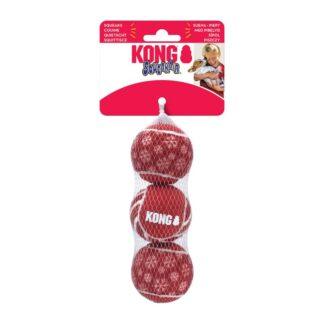 KONG Julleksak SqueakAir Ball 3p Röd M 6cm