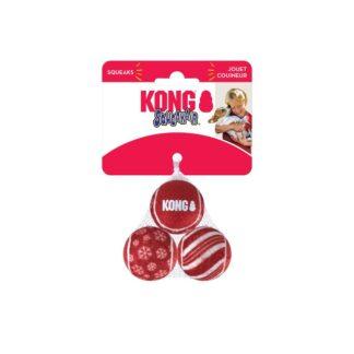 KONG Julleksak SqueakAir Ball 3p Röd S 5cm