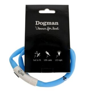 dogman ledhalsband silikon blå